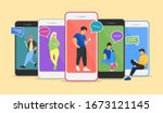 chat illustration of young... | Shutterstock .eps vector #1673121145