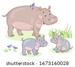 Hippo Family. Mom Hippo And Two ...