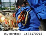 Carabiners or karabiner that hang on safety harness to prepare for the rescue.