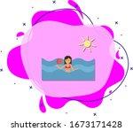 beach  woman  sea cartoon icon. ...