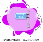 hill signboard colored icon....