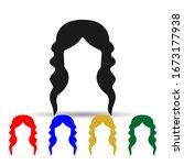 woman haircut long multi color...