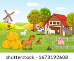 colorful farmyard with assorted ... | Shutterstock .eps vector #1673192608