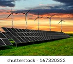 solar energy panels with wind... | Shutterstock . vector #167320322