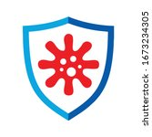 a blue shield and red virus... | Shutterstock .eps vector #1673234305