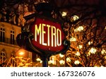 Paris Metro Subway Sign And...