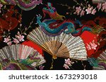 asian dragons  rising sun ... | Shutterstock .eps vector #1673293018