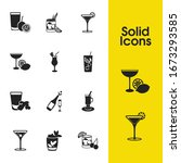 cocktails icons set with...