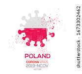 poland flag with corona virus... | Shutterstock .eps vector #1673302462