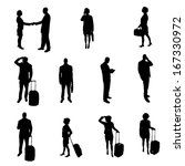 silhouettes of businesspeople | Shutterstock .eps vector #167330972