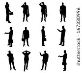 silhouettes of businesspeople | Shutterstock .eps vector #167330996