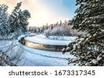 Winter Snow Forest River...