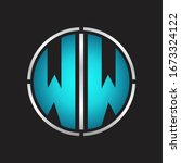 WW Logo initial with circle line cut design template on blue colors