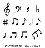 set of music notes  | Shutterstock . vector #167334626