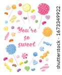 you are so sweet candy vector... | Shutterstock .eps vector #1673349922