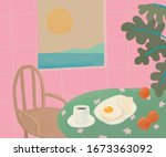 breakfast in white plate ... | Shutterstock . vector #1673363092