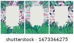 creative set of brochures with... | Shutterstock .eps vector #1673366275