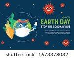 earth day stop the coronavirus... | Shutterstock .eps vector #1673378032