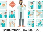 covid 19 virus protection tips. ... | Shutterstock .eps vector #1673383222