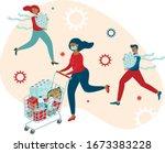coronavirus panic shopping....   Shutterstock .eps vector #1673383228