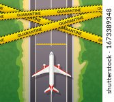 airplane stopped on road. the... | Shutterstock .eps vector #1673389348