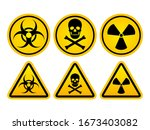 danger warning set circle and... | Shutterstock .eps vector #1673403082