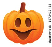 fear smiling pumpkin icon.... | Shutterstock .eps vector #1673413438