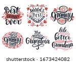 best granny ever. world's best... | Shutterstock .eps vector #1673424082
