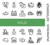 wild simple icons set. contains ... | Shutterstock .eps vector #1673430415