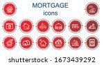 editable 14 mortgage icons for... | Shutterstock .eps vector #1673439292