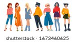 stylish women. cartoon fashion... | Shutterstock .eps vector #1673460625