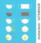 face mask set for prevent... | Shutterstock .eps vector #1673484628