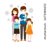 family wearing face masks for... | Shutterstock .eps vector #1673484652
