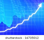 arrow graph going up on a blue... | Shutterstock . vector #16735012