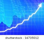 arrow graph going up on a blue... | Shutterstock . vector #16735012