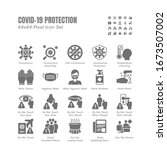 simple set of covid 19... | Shutterstock .eps vector #1673507002