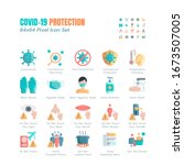 simple set of covid 19... | Shutterstock .eps vector #1673507005