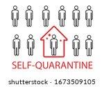 coronavirus. self quarantine.... | Shutterstock .eps vector #1673509105
