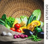 Still life fresh vegetables on the sack cloth - stock photo