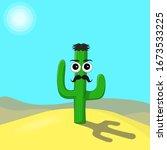 Cartoon Cactus With Hair And...