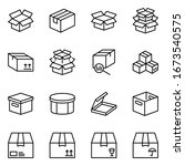 box flat line icon set. carton  ... | Shutterstock .eps vector #1673540575