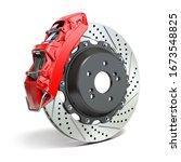 Braking System. Car Brake Disk...