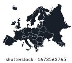 map of europe with division of... | Shutterstock .eps vector #1673563765