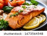 Fried Salmon Steak With...