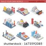 isometric factories plants flat ... | Shutterstock .eps vector #1673592085