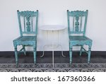 Old Blue Wooden Chair With...