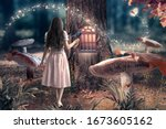 Small photo of Girl in dress with bird in hand in fantasy enchanted fairy tale forest with giant mushrooms, magical shining window in pine tree hollow and flying magic butterfly leaving path with luminous sparkles