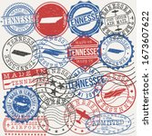 tennessee  usa set of stamps.... | Shutterstock .eps vector #1673607622