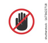 no touch hand icon in a flat... | Shutterstock .eps vector #1673622718