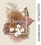 boho bouquet dried palm leaves... | Shutterstock .eps vector #1673622955
